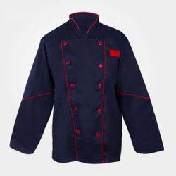 لباس کار سر آشپزی سرمه ای با نوار قرمز